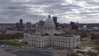 DX0001_002439 - 5.7K stock footage aerial video orbit state capitol building with city's skyline in the background, Downtown Saint Paul, Minnesota