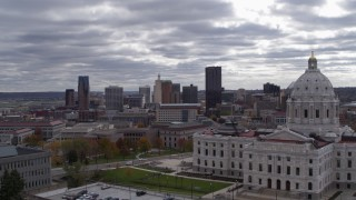 DX0001_002440 - 5.7K stock footage aerial video of city's skyline in the distance, seen from state capitol building, Downtown Saint Paul, Minnesota