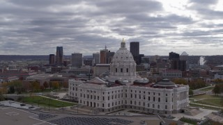 DX0001_002441 - 5.7K stock footage aerial video of city's skyline in the distance, seen during flyby of the state capitol building, Downtown Saint Paul, Minnesota