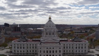 DX0001_002442 - 5.7K stock footage aerial video of the state capitol building, with part of downtown in the background, Saint Paul, Minnesota