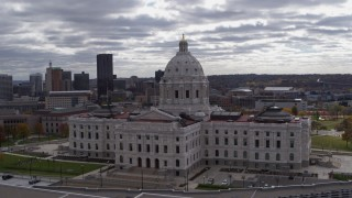 DX0001_002445 - 5.7K stock footage aerial video orbit state capitol building, with city skyline visible in background, Saint Paul, Minnesota