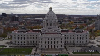DX0001_002448 - 5.7K stock footage aerial video descend by state capitol building in Saint Paul, Minnesota