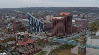 DX0001_002621 - 5.7K stock footage aerial video modern condominium complex and two riverfront office buildings in Covington, Kentucky