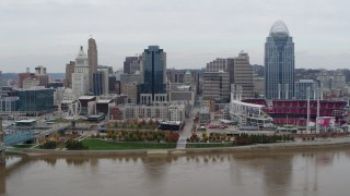 DX0001_002648 - 5.7K stock footage aerial video flyby the city's downtown skyline and baseball stadium by the Ohio River, Downtown Cincinnati, Ohio
