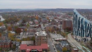 DX0001_002651 - 5.7K stock footage aerial video flyby and away from brick buildings and condo complex in Covington, Kentucky