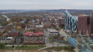 DX0001_002652 - 5.7K stock footage aerial video stationary view of brick buildings and condo complex in Covington, Kentucky