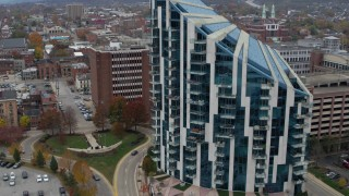 DX0001_002662 - 5.7K stock footage aerial video approach modern condo complex in Covington, Kentucky