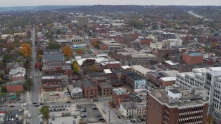 DX0001_002663 - 5.7K stock footage aerial video approach brick buildings in downtown in Covington, Kentucky