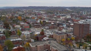 DX0001_002665 - 5.7K stock footage aerial video of flying by brick buildings in downtown in Covington, Kentucky