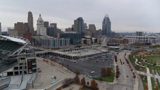DX0001_002679 - 5.7K stock footage aerial video of the city's skyline seen from the football stadium in Downtown Cincinnati, Ohio