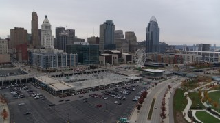 DX0001_002687 - 5.7K stock footage aerial video flyby view of city's skyline, and approach apartment and office buildings in Downtown Cincinnati, Ohio