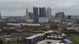 DX0001_002694 - 5.7K stock footage aerial video of passing by the city's skyline, reveal Scioto River in Downtown Columbus, Ohio