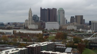 DX0001_002700 - 5.7K stock footage aerial video slow approach to the city's skyline and the Scioto River in Downtown Columbus, Ohio