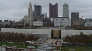 DX0001_002727 - 5.7K stock footage aerial video flying by the science museum, with city's skyline behind it, Downtown Columbus, Ohio
