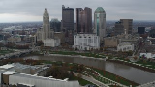 DX0001_002732 - 5.7K stock footage aerial video flyby the city's skyline and Scioto River, Downtown Columbus, Ohio