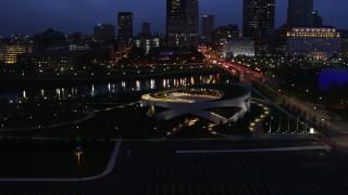DX0001_002780 - 5.7K stock footage aerial video of the Veterans Memorial Auditorium at twilight in Columbus, Ohio