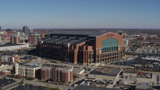 DX0001_002814 - 5.7K stock footage aerial video orbit and approach a football stadium in Indianapolis, Indiana
