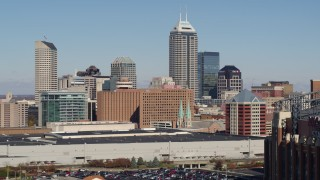 DX0001_002817 - 5.7K stock footage aerial video descend and flyby the city's skyline in Downtown Indianapolis, Indiana