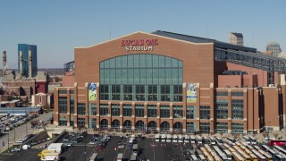 DX0001_002834 - 5.7K stock footage aerial video of the front of a football stadium in Indianapolis, Indiana