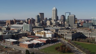 DX0001_002837 - 5.7K stock footage aerial video of ascending for a view of the city's skyline in Downtown Indianapolis, Indiana