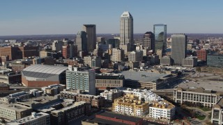 DX0001_002842 - 5.7K stock footage aerial video of flying by the city's skyline in Downtown Indianapolis, Indiana