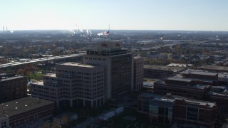 DX0001_002852 - 5.7K stock footage aerial video of an orbit of an office building in Indianapolis, Indiana