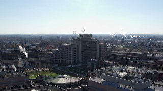 DX0001_002854 - 5.7K stock footage aerial video of circling around an office building in Indianapolis, Indiana