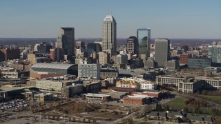 DX0001_002858 - 5.7K stock footage aerial video of passing by tall skyscrapers in the city's skyline in Downtown Indianapolis, Indiana