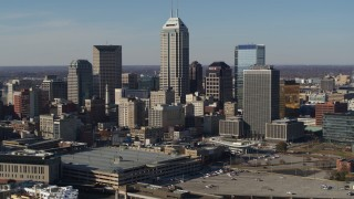 DX0001_002862 - 5.7K stock footage aerial video of slow flyby of towering skyscrapers in the city's skyline in Downtown Indianapolis, Indiana