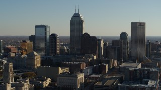 DX0001_002875 - 5.7K stock footage aerial video a view of the giant skyscrapers in the city's skyline during ascent in Downtown Indianapolis, Indiana