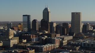 DX0001_002878 - 5.7K stock footage aerial video of flying by the skyline of Downtown Indianapolis, Indiana