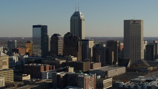 DX0001_002879 - 5.7K stock footage aerial video of approaching by the skyline of Downtown Indianapolis, Indiana