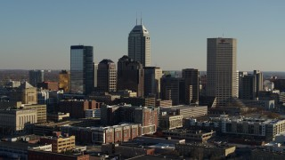 DX0001_002882 - 5.7K stock footage aerial video of passing skyscrapers in the skyline of Downtown Indianapolis, Indiana
