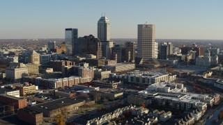 DX0001_002891 - 5.7K stock footage aerial video of a reverse view of skyline in Downtown Indianapolis, Indiana