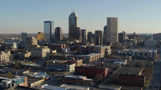 DX0001_002897 - 5.7K stock footage aerial video of the skyline's tall skyscrapers in Downtown Indianapolis, Indiana