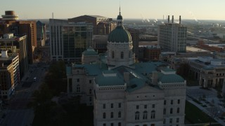DX0001_002909 - 5.7K stock footage aerial video approach and flyby the Indiana State House in Downtown Indianapolis, Indiana