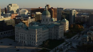 DX0001_002913 - 5.7K stock footage aerial video orbit the Indiana State House in Downtown Indianapolis, Indiana while descending