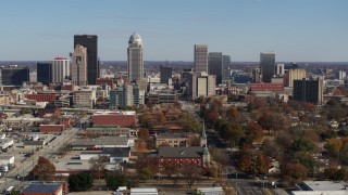 DX0001_002979 - 5.7K stock footage aerial video of flying by the city's skyline, Downtown Louisville, Kentucky