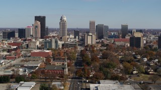 DX0001_002983 - 5.7K stock footage aerial video ascend and approach the city's skyline, Downtown Louisville, Kentucky