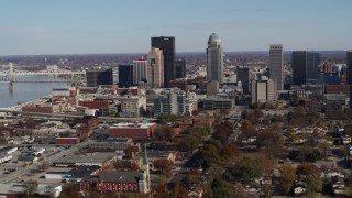 DX0001_002986 - 5.7K stock footage aerial video ascend and flyby the city's skyline in Downtown Louisville, Kentucky