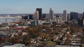 DX0001_002987 - 5.7K stock footage aerial video descend and flyby the city's skyline in Downtown Louisville, Kentucky