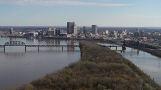 DX0001_003001 - 5.7K stock footage aerial video of the city's skyline beside the river in Downtown Louisville, Kentucky