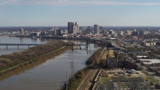 DX0001_003003 - 5.7K stock footage aerial video of a wide view of the city's skyline and the river in Downtown Louisville, Kentucky