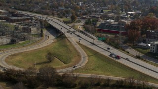 DX0001_003004 - 5.7K stock footage aerial video of light traffic on a freeway in Louisville, Kentucky