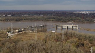 DX0001_003008 - 5.7K stock footage aerial video a dam on the Ohio River in Louisville, Kentucky