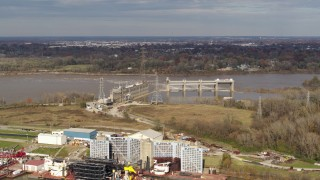 DX0001_003009 - 5.7K stock footage aerial video a view of a dam on the Ohio River in Louisville, Kentucky