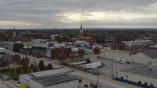 DX0001_003035 - 5.7K stock footage aerial video of a small church and steeple in Louisville, Kentucky
