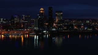 DX0001_003120 - 5.7K stock footage aerial video slowly flying past the city skyline at twilight, seen from the river, Downtown Louisville, Kentucky