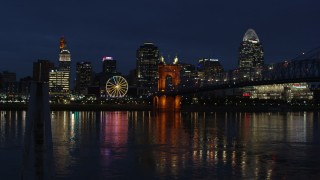 DX0001_003189 - 5.7K stock footage aerial video stationary view of the city skyline across the Ohio River at twilight, Downtown Cincinnati, Ohio