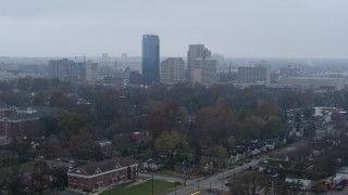 DX0001_003205 - 5.7K stock footage aerial video of the city skyline seen from residential neighborhoods, Downtown Lexington, Kentucky